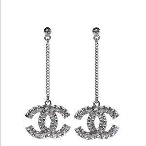 Chanel Silver Crystal Baguette CC Dangle Earrings
